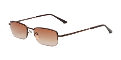 Angle of The Cinder Reading Sunglasses in Bronze with Amber, Women's and Men's Rectangle Reading Sunglasses