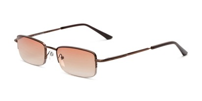 Angle of The Cinder Reading Sunglasses in Bronze with Light Amber, Women's and Men's Rectangle Reading Sunglasses