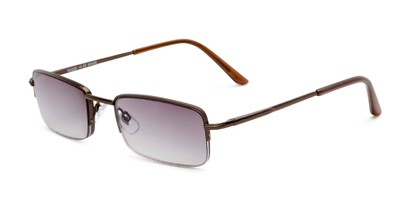 Angle of The Cinder Reading Sunglasses in Bronze with Smoke, Women's and Men's Rectangle Reading Sunglasses