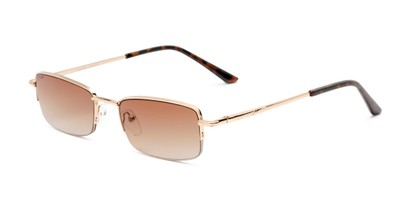 Angle of The Cinder Reading Sunglasses in Gold with Amber, Women's and Men's Rectangle Reading Sunglasses