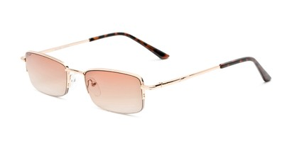 Angle of The Cinder Reading Sunglasses in Gold with Light Amber, Women's and Men's Rectangle Reading Sunglasses
