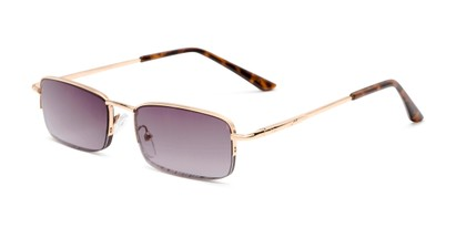 Angle of The Cinder Reading Sunglasses in Gold with Smoke, Women's and Men's Rectangle Reading Sunglasses