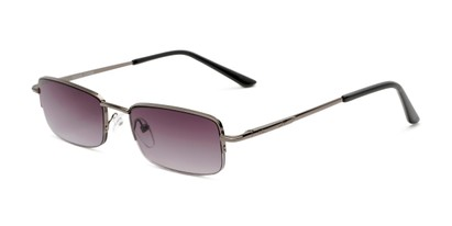 Angle of The Cinder Reading Sunglasses in Grey with Smoke, Women's and Men's Rectangle Reading Sunglasses