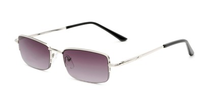 Angle of The Cinder Reading Sunglasses in Silver with Smoke, Women's and Men's Rectangle Reading Sunglasses