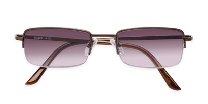 Folded of The Cinder Reading Sunglasses in Bronze with Smoke