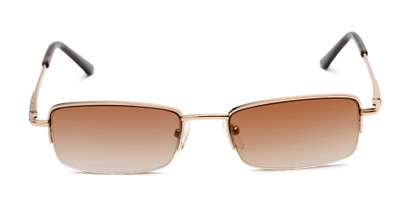 Front of The Cinder Reading Sunglasses in Gold with Amber