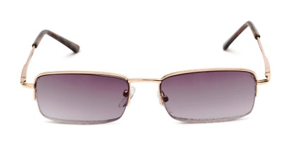 Front of The Cinder Reading Sunglasses in Gold with Smoke