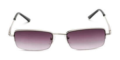 Front of The Cinder Reading Sunglasses in Silver with Smoke