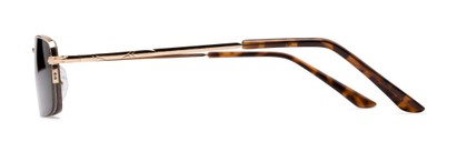 Side of The Cinder Reading Sunglasses in Gold with Smoke