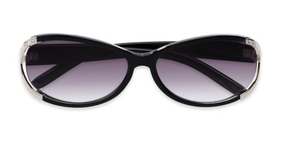 Folded of The Claire Reading Sunglasses in Black/Silver with Smoke