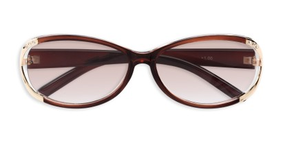 Folded of The Claire Reading Sunglasses in Brown/Gold with Amber