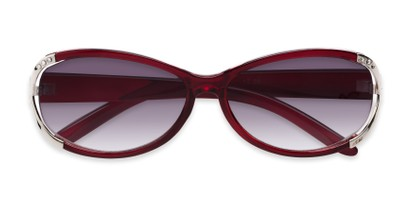 Folded of The Claire Reading Sunglasses in Red/Silver with Smoke