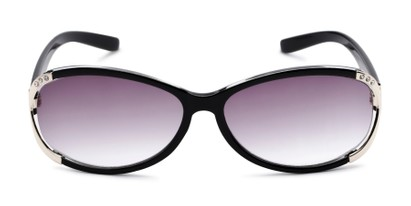 Front of The Claire Reading Sunglasses in Black/Silver with Smoke