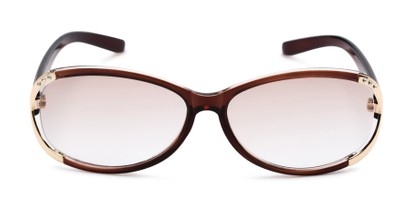 Front of The Claire Reading Sunglasses in Brown/Gold with Amber