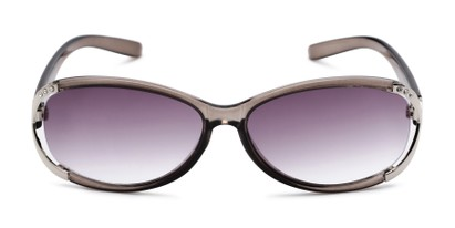 Front of The Claire Reading Sunglasses in Grey/Silver with Smoke