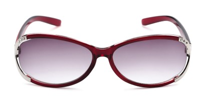 Front of The Claire Reading Sunglasses in Red/Silver with Smoke