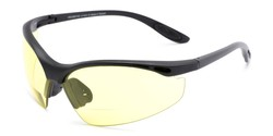 Angle of The Clark Night Driving Bifocal Safety Reader  in Matte Black with Yellow, Women's and Men's Sport & Wrap-Around Reading Sunglasses