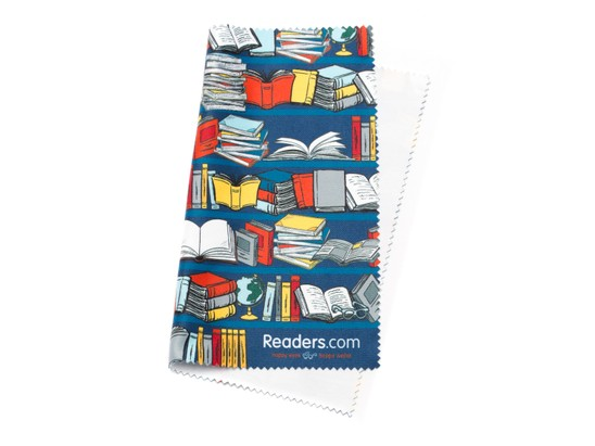 Angle of Readers.com Microfiber Lens Cleaning Cloth in Blue Books, Women's and Men's  Cleaning Cloths
