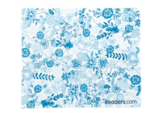 Front of Readers.com Microfiber Lens Cleaning Cloth in Blue Floral