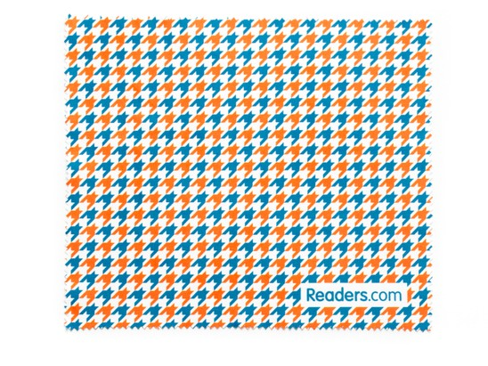 Front of Readers.com Microfiber Lens Cleaning Cloth in Red/Blue Houndstooth