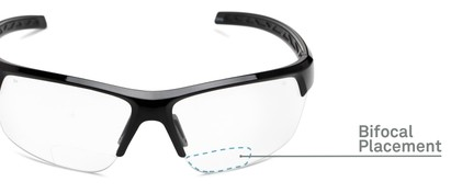 Detail of The Clear Bifocal Safety Reader in Black with Clear Lenses