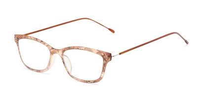 Angle of The Clementine Flexible Reader in Orange Paisley, Women's Rectangle Reading Glasses