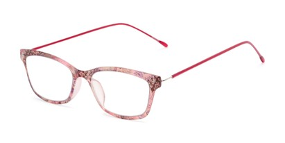 Angle of The Clementine Flexible Reader in Pink Paisley, Women's Rectangle Reading Glasses
