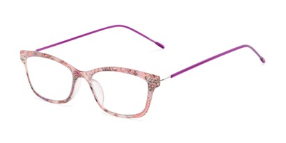 Angle of The Clementine Flexible Reader in Purple Paisley, Women's Rectangle Reading Glasses