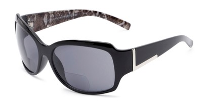 Angle of The Cleo Bifocal Reading Sunglasses in Black/Snake with Smoke, Women's and Men's Square Reading Sunglasses