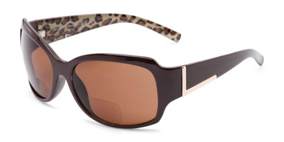 Angle of The Cleo Bifocal Reading Sunglasses in Brown/Leopard with Amber, Women's and Men's Square Reading Sunglasses