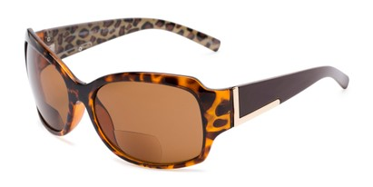 Angle of The Cleo Bifocal Reading Sunglasses in Tortoise/Brown Leopard with Amber, Women's and Men's Square Reading Sunglasses