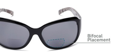 Detail of The Cleo Bifocal Reading Sunglasses in Black/Snake with Smoke