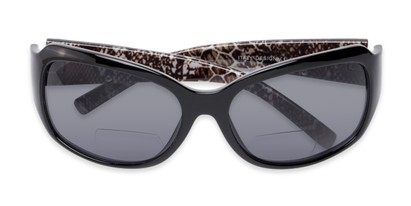 Folded of The Cleo Bifocal Reading Sunglasses in Black/Snake with Smoke