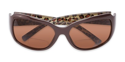 Folded of The Cleo Bifocal Reading Sunglasses in Brown/Leopard with Amber