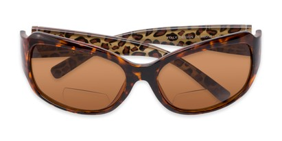 Folded of The Cleo Bifocal Reading Sunglasses in Tortoise/Brown Leopard with Amber