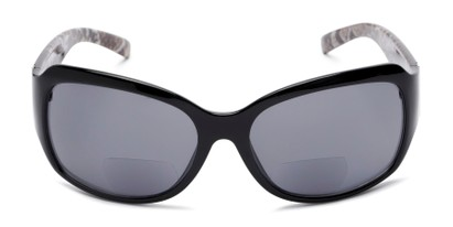 Front of The Cleo Bifocal Reading Sunglasses in Black/Snake with Smoke