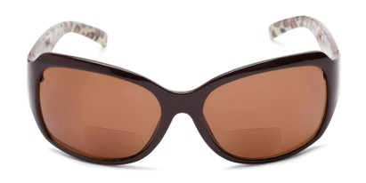 Front of The Cleo Bifocal Reading Sunglasses in Brown/Leopard with Amber