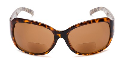 Front of The Cleo Bifocal Reading Sunglasses in Tortoise/Brown Leopard with Amber