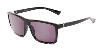 Angle of The Clifton Reading Sunglasses in Black/Blue Tortoise with Smoke, Men's Retro Square Reading Sunglasses