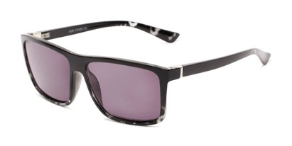 Angle of The Clifton Reading Sunglasses in Black/Clear Tortoise with Smoke, Men's Retro Square Reading Sunglasses