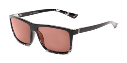 Angle of The Clifton Reading Sunglasses in Black/Clear Tortoise with Amber, Men's Retro Square Reading Sunglasses
