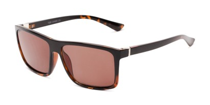 Angle of The Clifton Reading Sunglasses in Black/Brown Tortoise with Amber, Men's Retro Square Reading Sunglasses