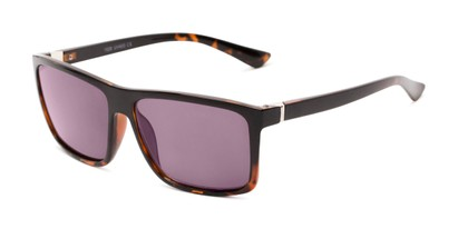 Angle of The Clifton Reading Sunglasses in Black/Brown Tortoise with Smoke, Men's Retro Square Reading Sunglasses