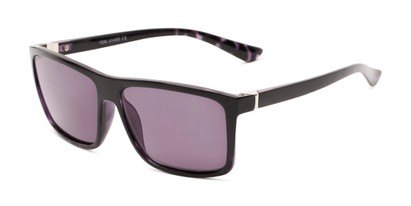 Angle of The Clifton Reading Sunglasses in Black/Purple Tortoise with Smoke, Men's Retro Square Reading Sunglasses