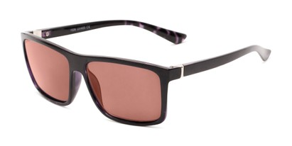 Angle of The Clifton Reading Sunglasses in Black/Purple Tortoise with Amber, Men's Retro Square Reading Sunglasses