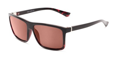Angle of The Clifton Reading Sunglasses in Black/Red Tortoise with Amber, Men's Retro Square Reading Sunglasses