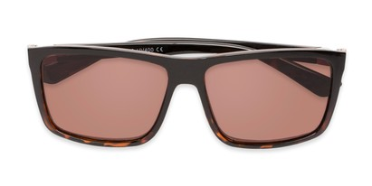 Folded of The Clifton Reading Sunglasses in Black/Brown Tortoise with Amber