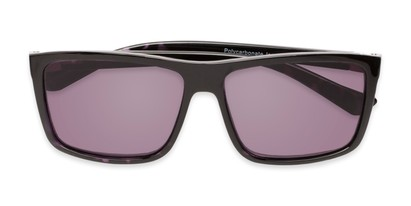 Folded of The Clifton Reading Sunglasses in Black/Purple Tortoise with Smoke