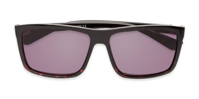 Folded of The Clifton Reading Sunglasses in Black/Red Tortoise with Smoke