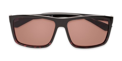 Folded of The Clifton Reading Sunglasses in Black/Red Tortoise with Amber